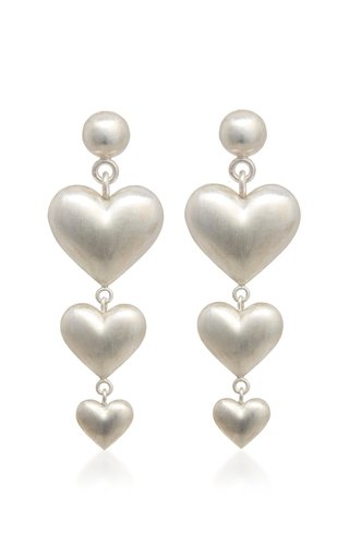 Triple Heart Sterling Silver Earrings