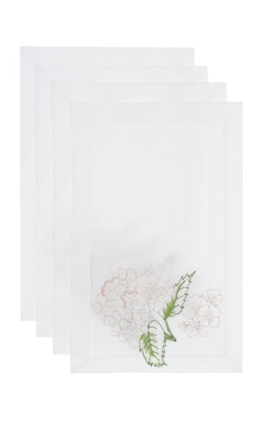 Hortense Set-Of-Four Painted Linen Cocktail Napkins