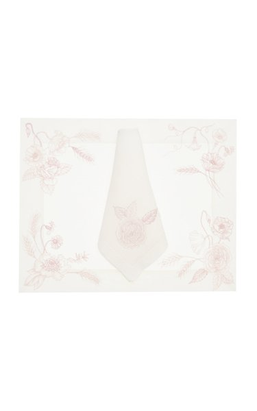 Flores Painted Linen Placemat And Napkin Set