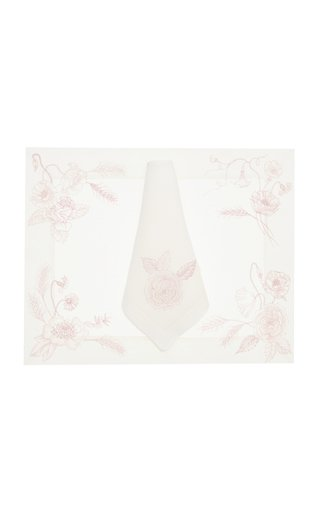 Flores Painted Linen Placemat and Napkin