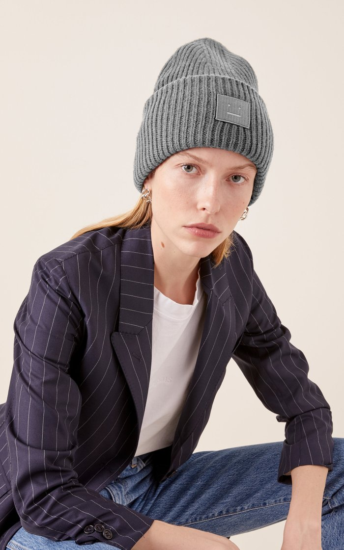 Pansy Face Ribbed Wool Beanie