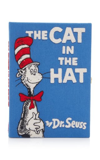 Specialorder-The Cat In The Hat Embroidered Canvas Book Clutch-AP