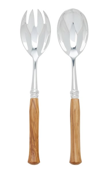 Riviera Silver-Plated Olivewood Salad Set