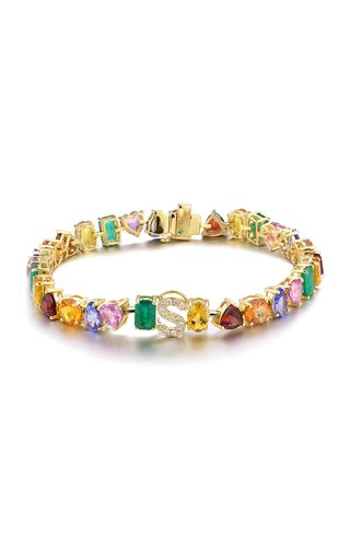 18K Yellow Gold and Multi Colored Stones Initial Tennis Bracelet