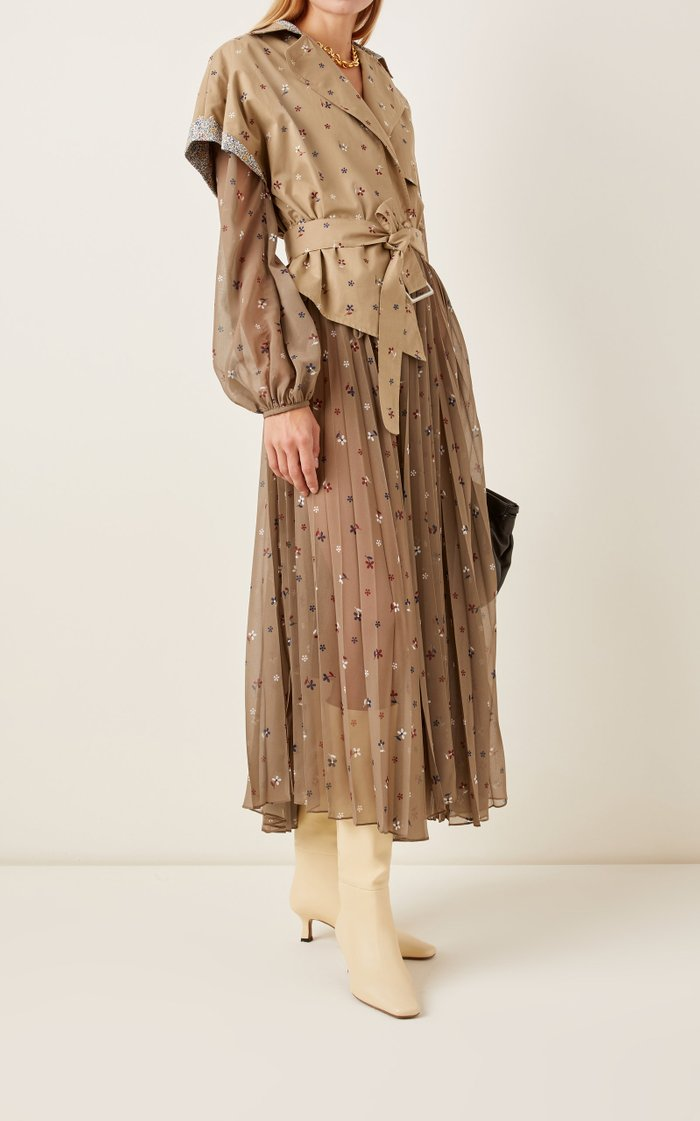 Laurie Trench-Detailed Printed Chiffon Dress
