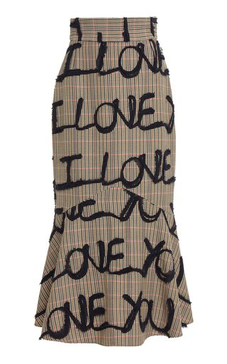 I Love You Embroidered Cady Skirt