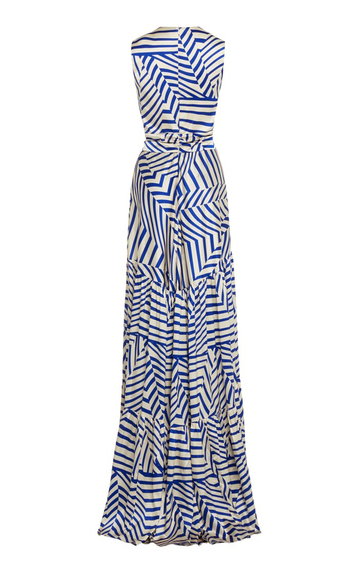 Polly Printed Stretch-Silk Maxi Dress