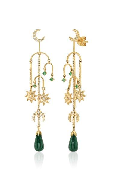 18K Yellow-Gold Malachite, Diamond, and Emerald Earrings