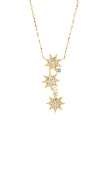 Three Star 18K Yellow Gold and Diamond Necklace