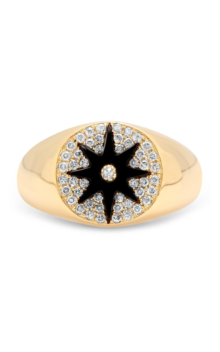 Classic 18K Yellow Gold, Onyx, and Diamond Signet Ring