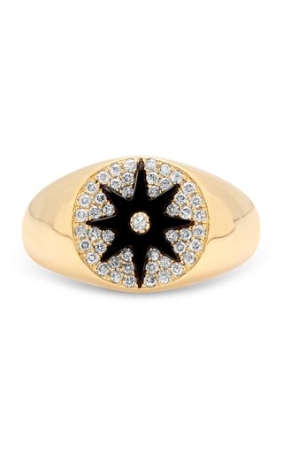 Classic 18K Yellow Gold, Onyx, and Diamond Signet Ring