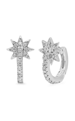 Star 18k White-Gold and Diamond Huggies
