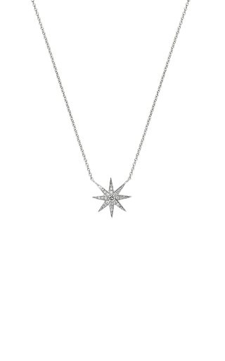 Single Star 18K White Gold and Diamond Pendant