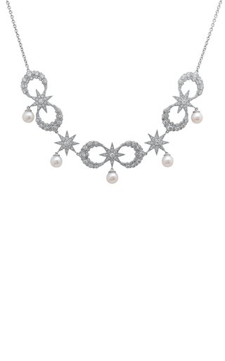 Moon 18K White Gold and Diamond Necklace