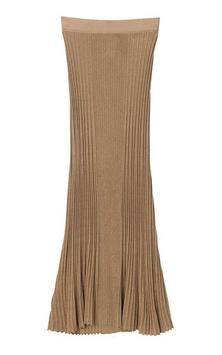 Orista Metallic Ribbed-Knit Midi Skirt