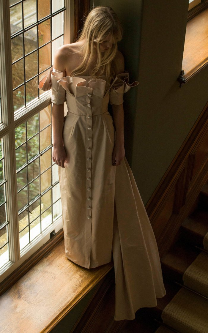 Silk Off-Shoulder Trench Gown