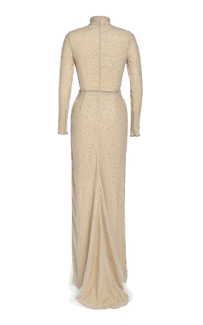 High Neck Silk Crepe Gown