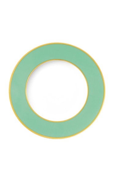 Light Green Bread Plate With 24K Gold Rim