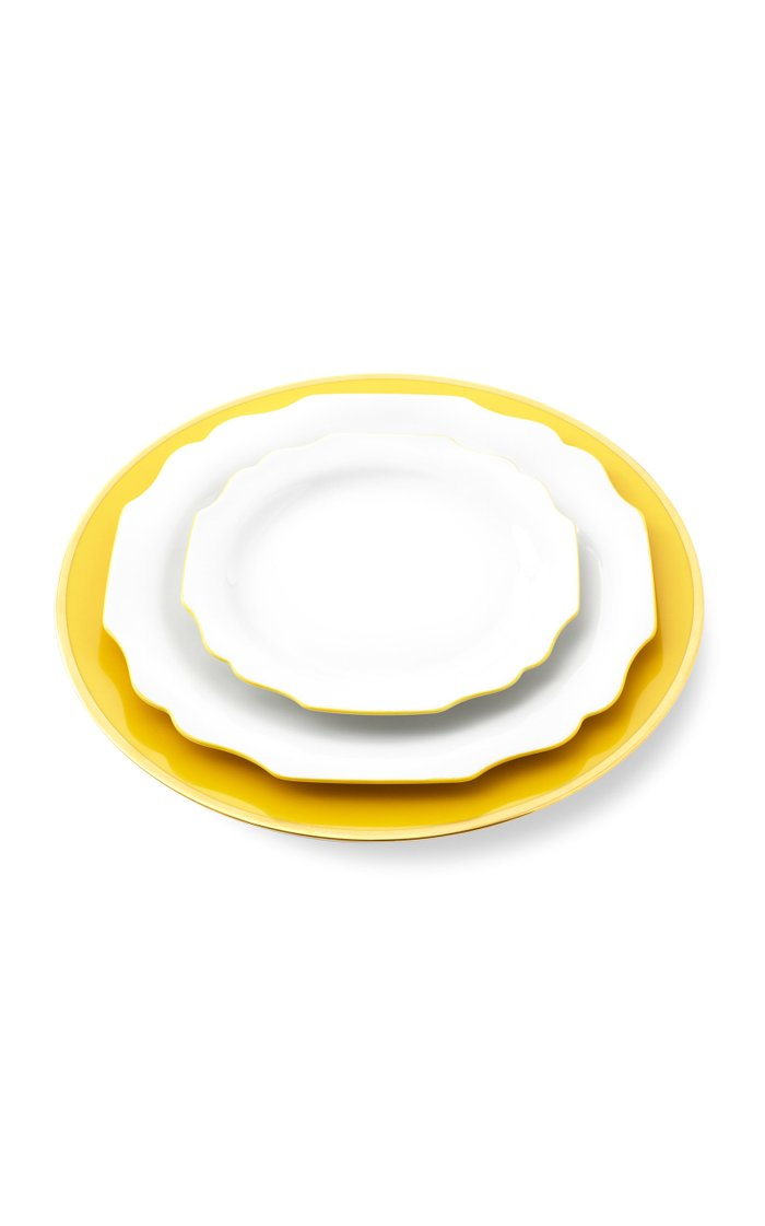 Yellow Bread Plate With 24K Gold Rim