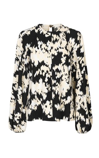 Dianne Puff-Sleeve Floral Crepe Top