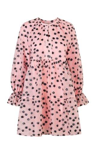 Ivana Floral Flocked Chiffon Mini Dress