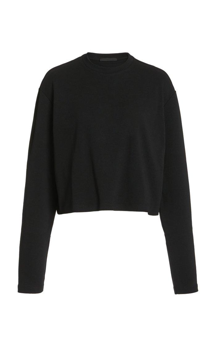 Oversized Cropped Cotton Long-Sleeve T-Shirt