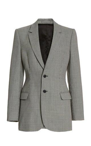 Contoured Houndstooth Wool Blazer