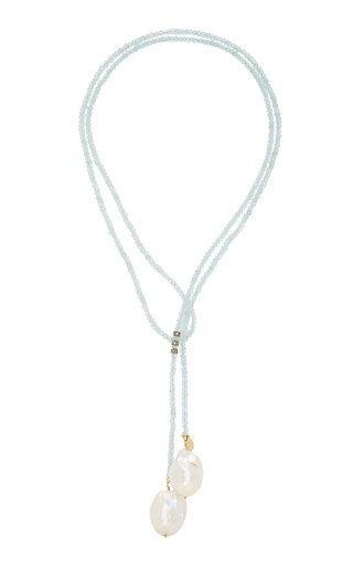 Gold-Filled, Aquamarine, Diamond and Pearl Necklace