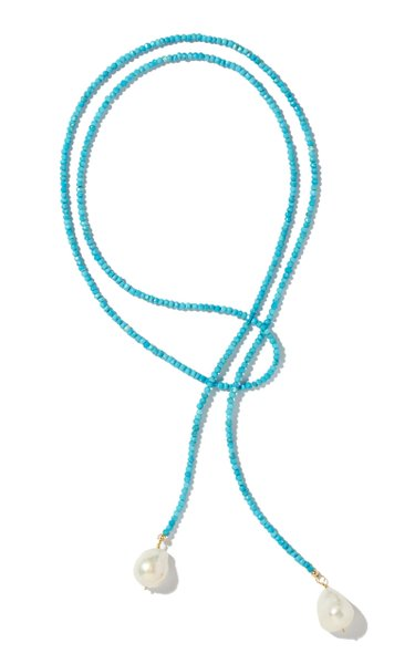 Classic Turquoise, Pearl and Metal Lariat