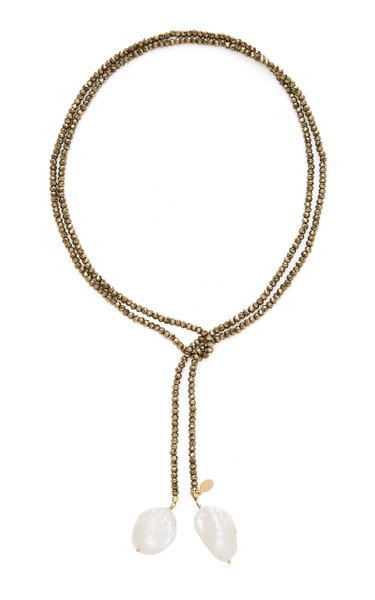 Gold-Filled, Pyrite and Pearl Necklace