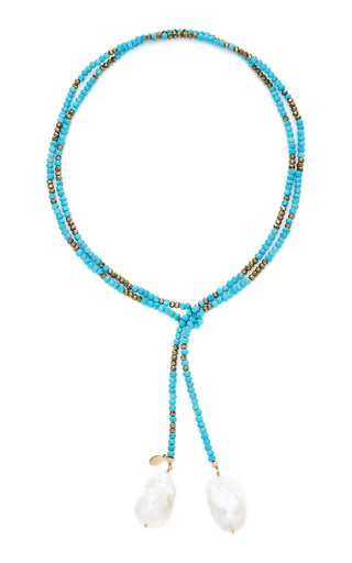 Gold-Filled, Turquoise, Pyrite and Pearl Necklace