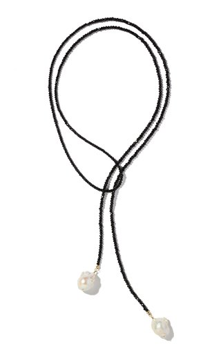 Spinel And Pearl Lariat Necklace