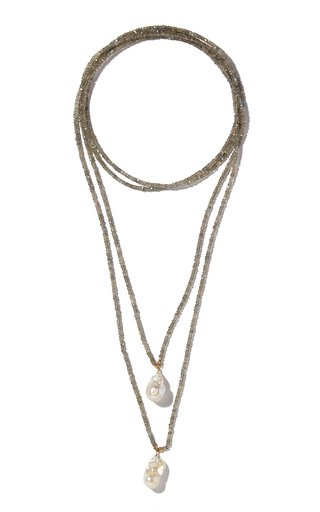 Labradorite And Pearl Lariat Necklace