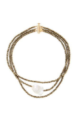 Triple Strand Gold-Filled, Pyrite and Pearl Choker