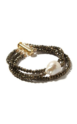 Pyrite And Pearl Bracelet