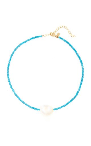 Gold-Filled, Turquoise and Pearl Necklace