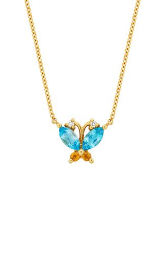 Butterfly Topaz, Citrine And Diamond 14K Gold Necklace