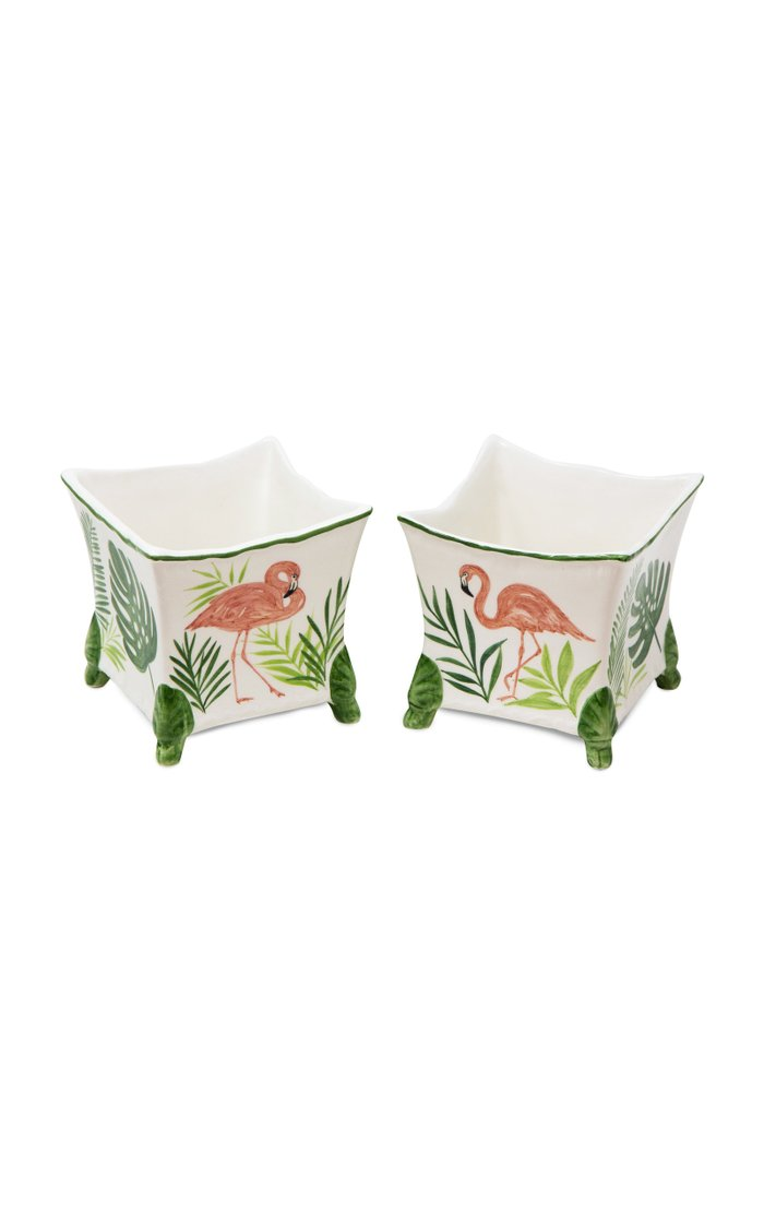 Flamingo Painted Ceramic Planter Set