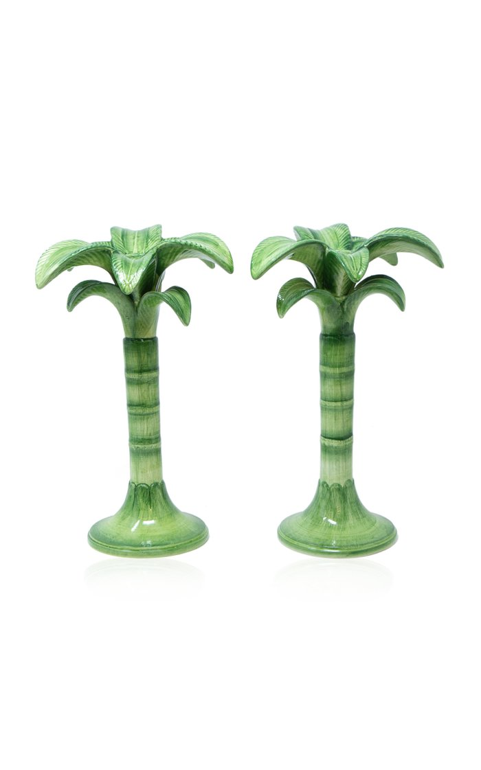 Palm Set-Of-Two Painted Ceramic Medium Candle Holders