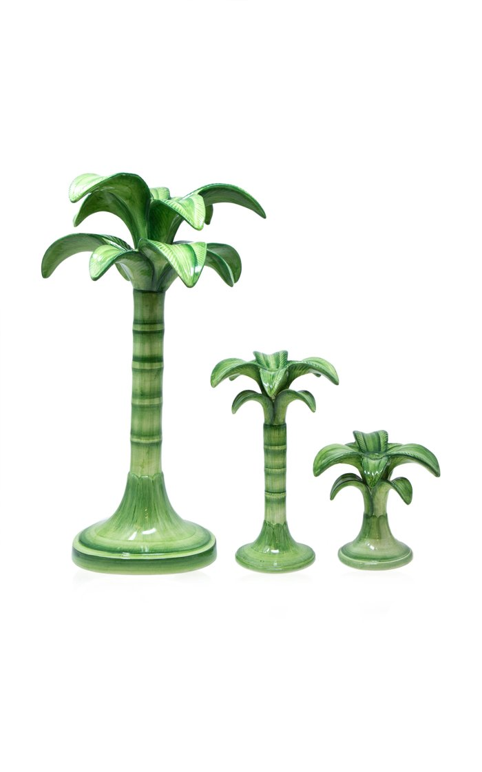 Palm Set-Of-Two Painted Ceramic Mini Candle Holders