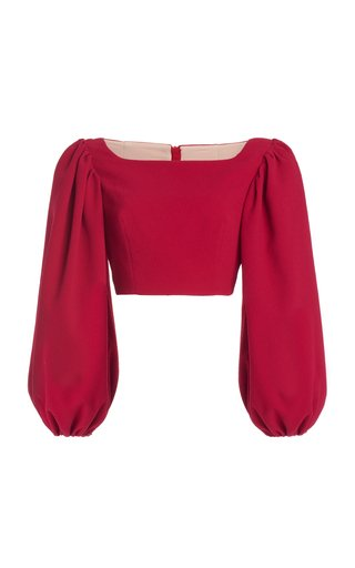 Veline Balloon-Sleeve Stretch-Crepe Crop Top