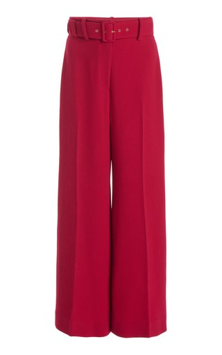 Jana Belted Stretch-Crepe Cropped Wide-Leg Trousers