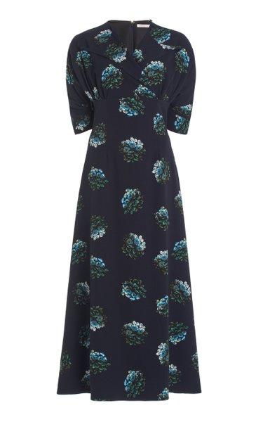 Olga Wrap-Front Floral Stretch-Georgette Midi Dress