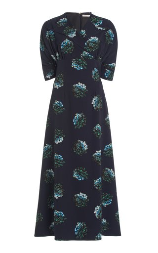 Olga Wrap-Front Floral Stretch-Georgette Midi Dress