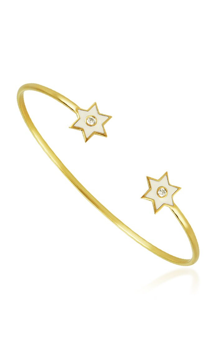 6 Point Star 18K Yellow-Gold and Diamond Cuff Bracelet