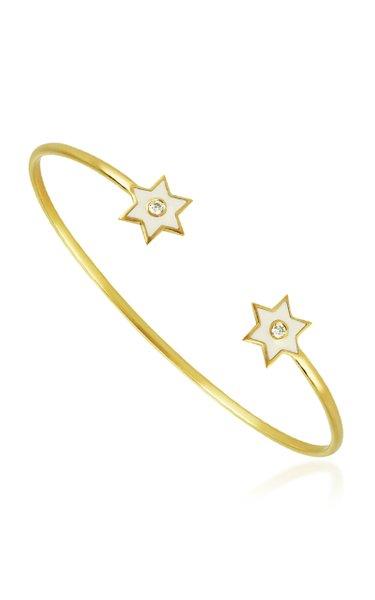 6 Point Star 18K Yellow-Gold and Diamond Cuff Bracelet
