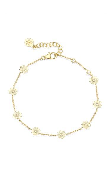 8 Point Star 18k Yellow-Gold Enamel and Diamond Chain Bracelet