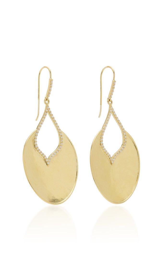 Kalika Open 18K Yellow-Gold and Diamond Raindrop Earrings