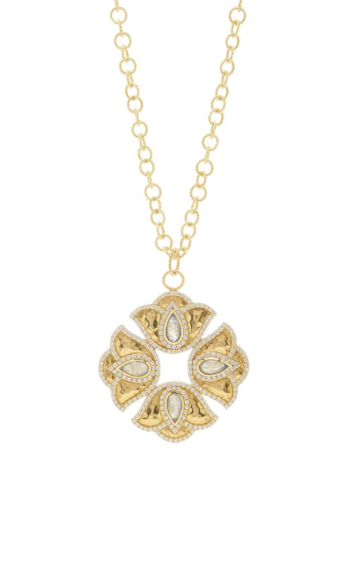 Kaliyana Lotus 18K Yellow Gold, Labradorite, and Diamond Pendant Necklace
