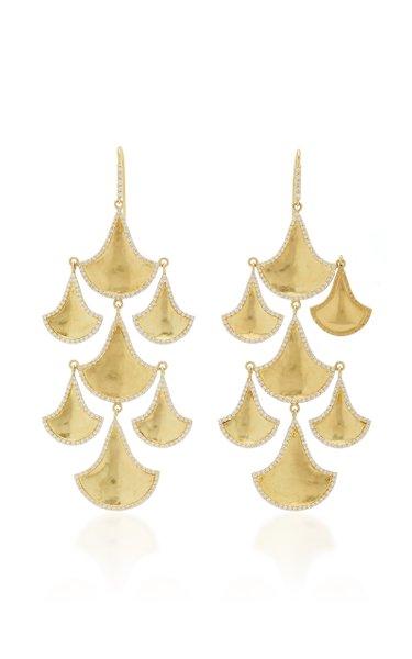 Kimaya Fan Graduated 18K Yellow-Gold And Diamond Chandelier Earrings